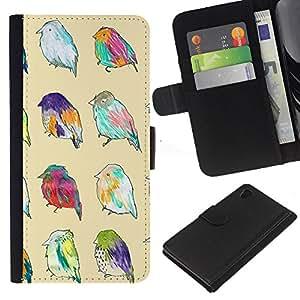 iBinBang / Flip Funda de Cuero Case Cover - Patrón Primavera Pascua Ornitología Amarillo - Sony Xperia Z4
