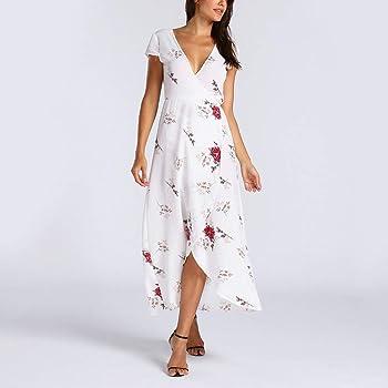 NPRADLA Vestido Largo Boho de Flores para Mujer Vestido Maxi de ...