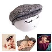 Vemonllas Fashion Newborn Boy Girl Costume Outfits Baby Photo Props Hat Gentleman Cap (Black)