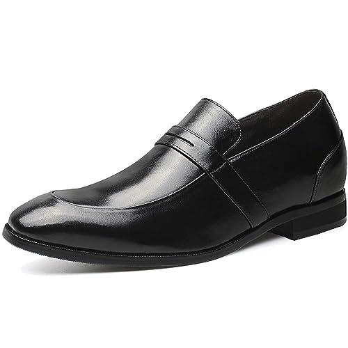 CHAMARIPA Elevador Negro Mens Zapatos Tacones Altos Zapatos Elevadores Altura Aumento Penny Mocasines Taller 7 cm/2,76 Inch: Amazon.es: Zapatos y ...