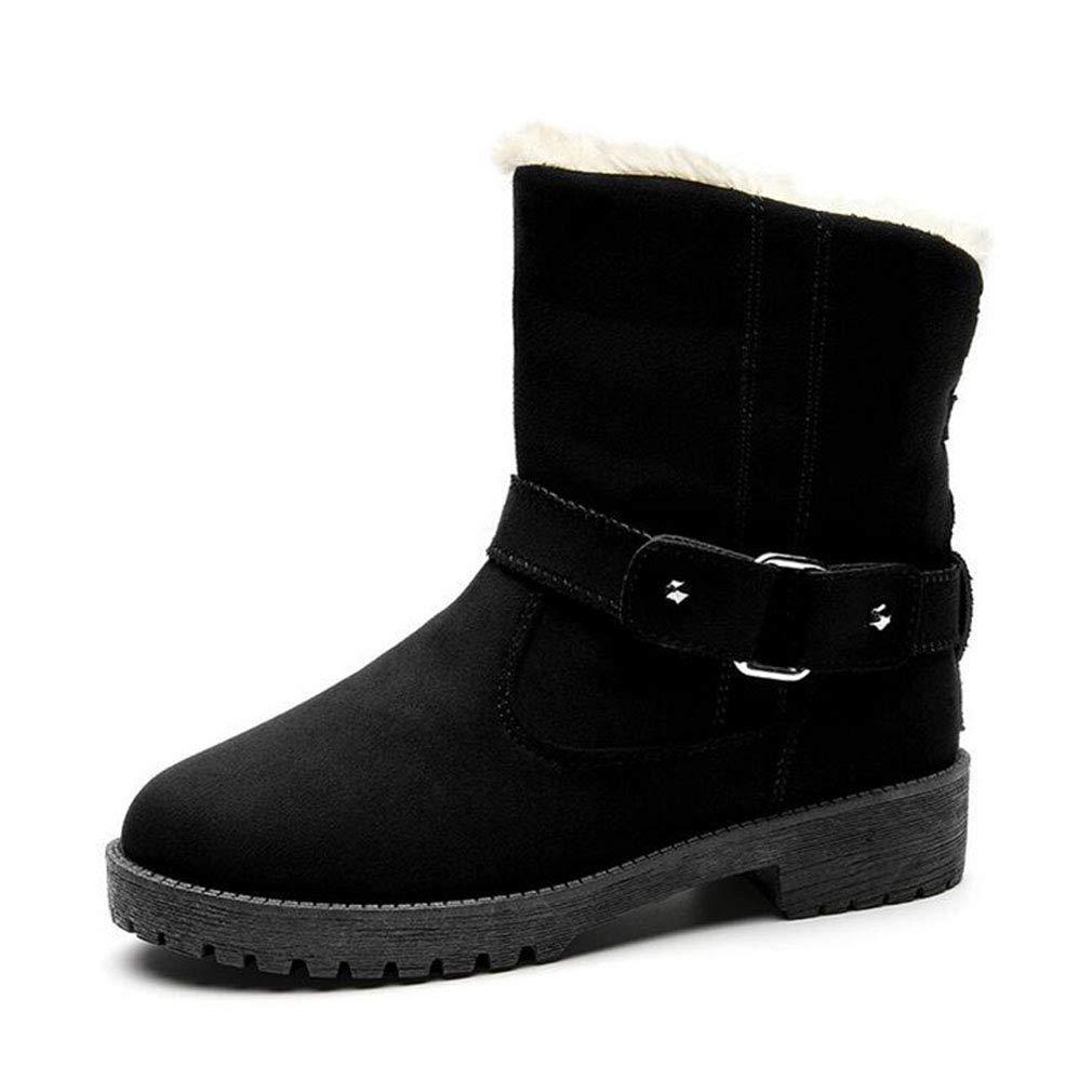 Damen Schneestiefel Winter Warm Winddicht Plus Kaschmir Stiefel Damen Flache Slip-Ons Stiefeletten Mode Stiefel europäischen und amerikanischen Stil Gürtelschnalle Große Größe warme Baumwolle Schuh
