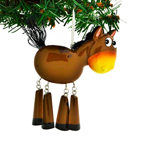Personalized Farm Animals Christmas Tree Ornament 2019 - Brown Horse Dangling Legs Farmer Collection Industry Barnyard Ride Barrel Ridding Toy Gift Year - Free Customization (Tree Farm Farmer Brown Christmas)