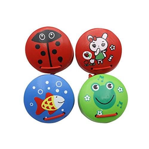 Andoer Colorful Wooden Finger Castanets Clackers Cartoon Animal Percussion Instrument Idiophone for Dance Show KTV Party Kids Games