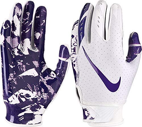 NIKE Youth Vapor Jet 5.0 Receiver Gloves 2018 (White/Purple, Medium)