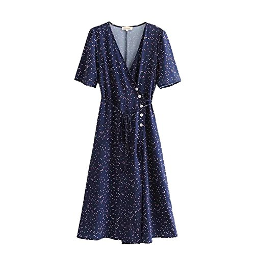 Floral Printed Women V-Neck Summer Dress 2018 Rouje Vintage Buttons Women Beach Dress Lace-up Femme Tea Dress cwd0177-5 (L, Navy Blue)