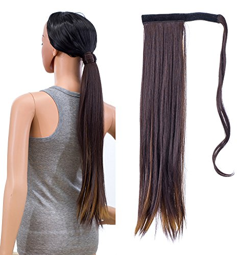 - SWACC Women Long Straight/Curly Wavy Wrap Around Ponytail Extension Synthetic Hair Piece Clip in Hair extensions (Straight, Dark Brown Auburn Highlights)