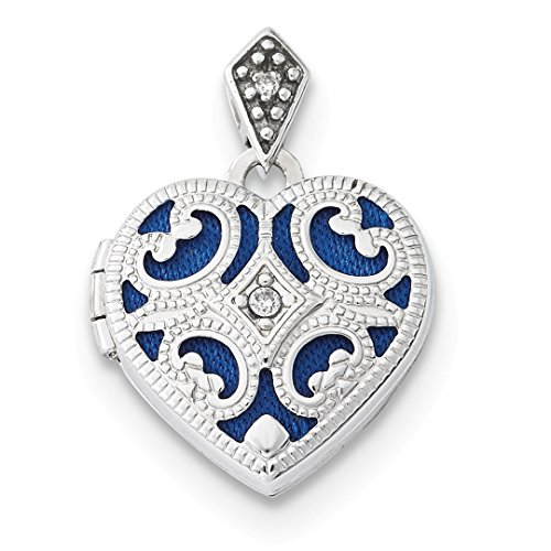 ICE CARATS 14kt White Gold 15mm Diamond Heart Photo Pendant Charm Locket Chain Necklace That Holds Pictures Fine Jewelry Ideal Gifts For Women Gift Set From (14kt Gold Heart Charm Pendant)
