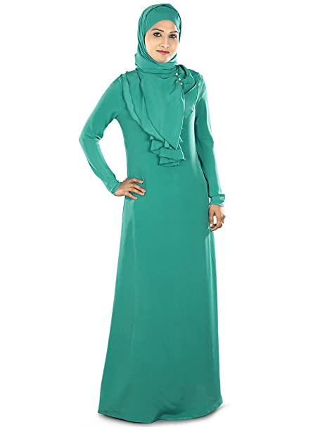 MyBatua botella verde elegante desgaste casual hermoso abaya burqa vestido AY-280 (XS)