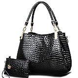 Big Capacity Shoulder Bags Crocodile Borse Women Totes Lady Handbag+Purse/Wallet Black 40x31x8
