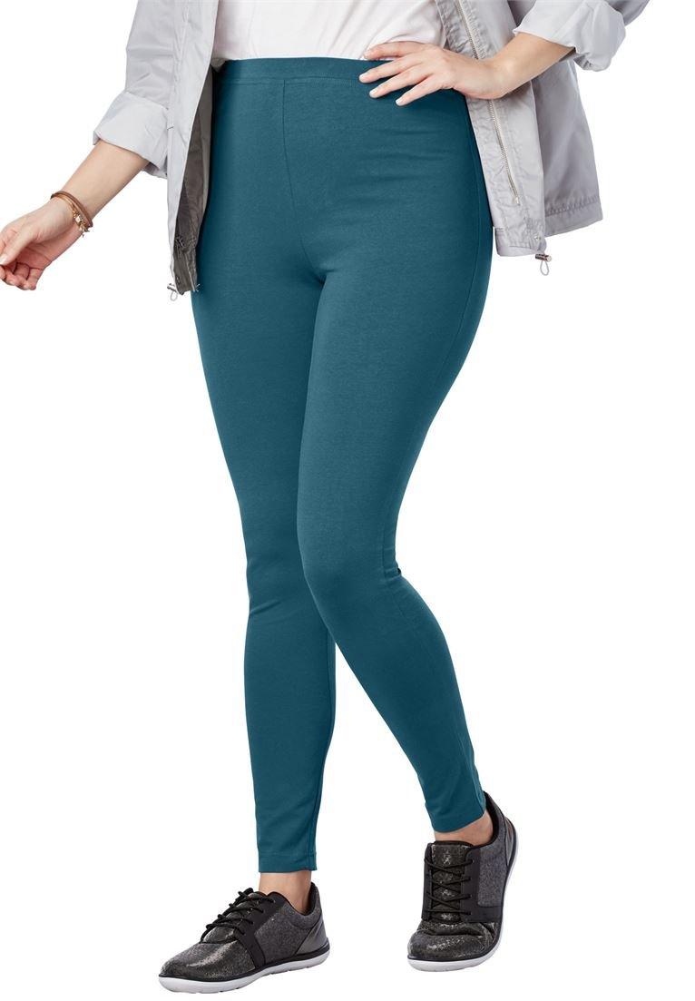 Women's Plus Size Stretch Cotton Legging Blue Teal,M