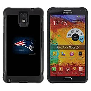 King Case@ New England Patriot Rugged hybrid Protection Impact Case Cover For Note 3 Case ,N9000 Leather Case ,Leather for Note 3 ,Case for Note 3 ,Note 3 case