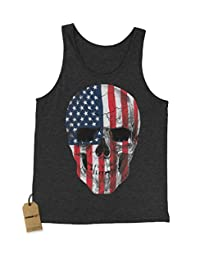 Expression Tees Skull U.S.A. Flag Jersey Tank Top for Men