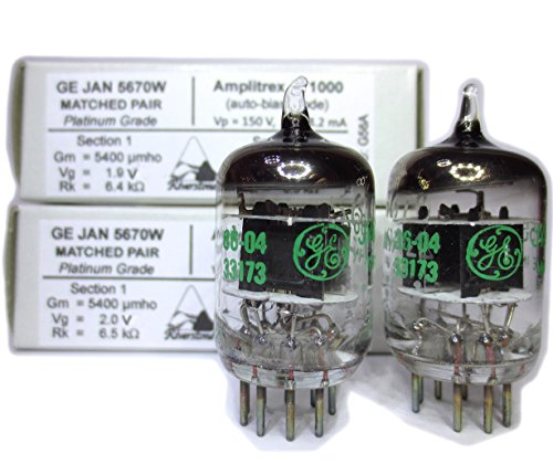 Riverstone Audio - Matched Pair (2 Tubes) 9-Pin GE NOS/NIB JAN 5670W Fully-Tested Vacuum Tubes 6N3, 6N3P, 2C51 5670 396A Tube Upgrade/Replacement - 5670W Platinum Grade ()