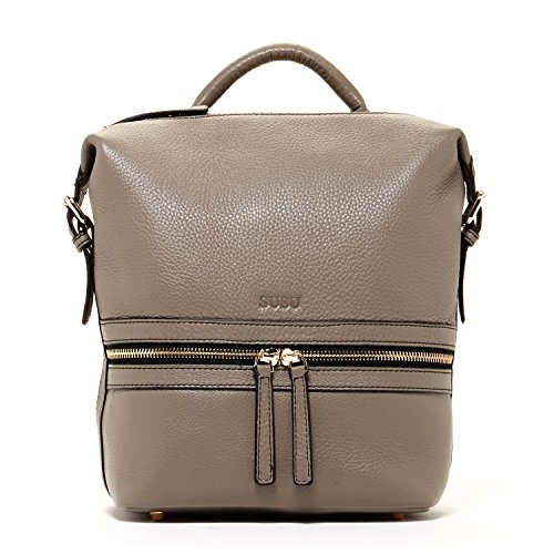 SUSU Genuine Leather Backpack for Women Elephant Grey Backpacks For Women Gray Stylish Backpack Purse Designer Handbags Pebbled Genuine Leather Fashionable Bags with Light Gold Front Zipper Pockets by SUSU