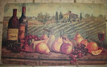Tuscuny Wine,Grapes,Apples,Pear,Fruit Kitchen Foam Rug/mat