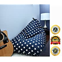 MiniOwls TOY STORAGE BEAN BAG COVER - fits 200L/52 gal - Stuffed Animal Organizer in NAVY with white stars - Soft & Comfy Cover that Creates Cozy Lounger Bed – (Also comes in GRAY & 100l size)