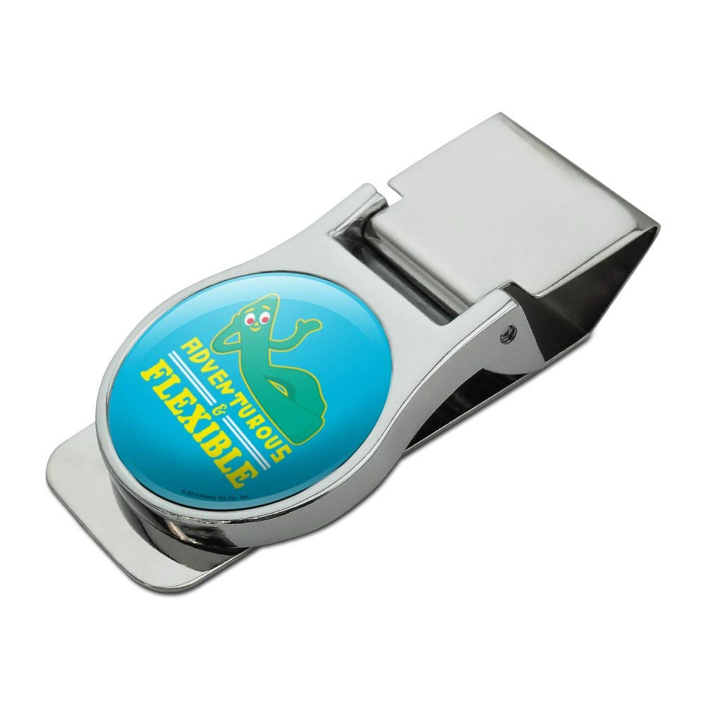 Adventurous and Flexible Gumby Satin Chrome Plated Metal Money Clip