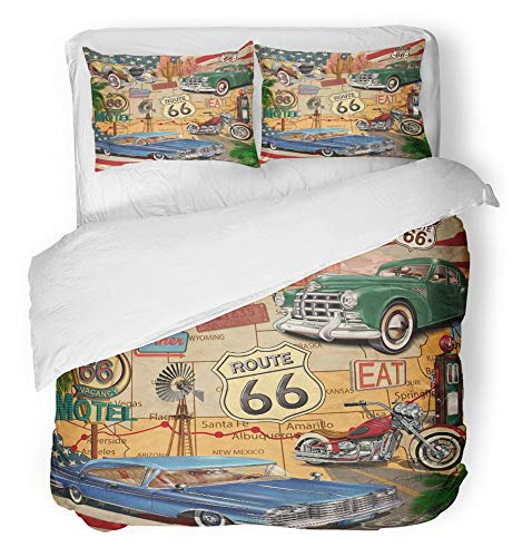 - Emvency 3 Piece Duvet Cover Set Breathable Brushed Microfiber Fabric American Vintage Route 66 Diner Arizona Map Motorcycle 1950S Adventure Trip Bedding Set with 2 Pillow Covers King Size