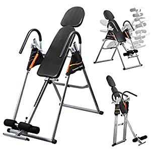 Yaheetech Folding Adjustable Gravity Inversion Table with Padded Backrest Ankle Clamp, 180 Degree Fully Inversion, 300Lb