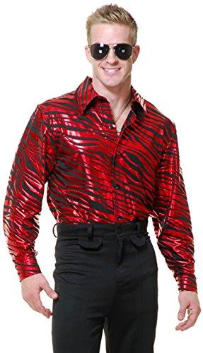 Charades Men's Zebra Print Disco Shirt, red X-Large -