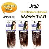 UNA 12inch Senegalese Twist Crochet Hair Short Braids Small Havana Mambo Twist Crochet Braiding Hair Senegalese Twists Hairstyles For Black Women 22strands/pack (3piece, T1B/30)