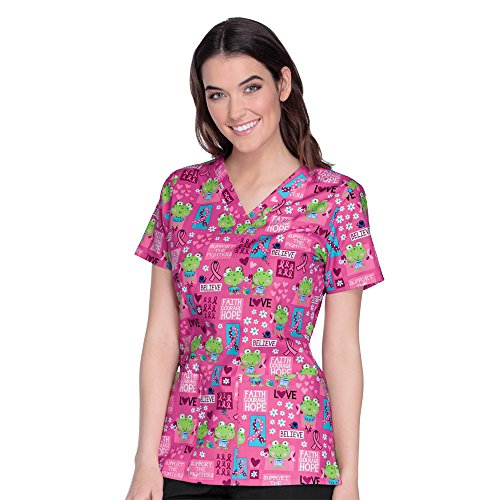 Cherokee Breast Cancer Awareness Women's V-Neck Frog Print Scrub Top X-Small ()