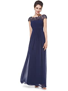 2f061bc150 Ever-Pretty Womens Cap Sleeve Lace Neckline Ruched Bust Evening Gown 09993