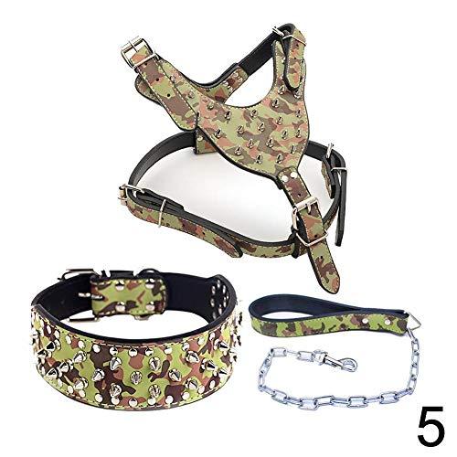 Binglinghua 3pcs/Set Studs Studded Pu Leather Pet Dog Harness for Pitbull (L, camo)