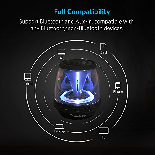 Tsumbay Vivid Sound Portable Bluetooth Speaker, Mini Speakers with Led Light and FM Radio, Wireless Sound Music Box Kid Boombox for iPhone, Samsung, iPad, PC Computer and More by Tsumbay (Image #5)