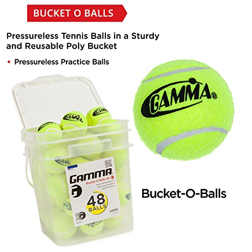 090852772996 - GAMMA Pressureless Tennis Ball Bucket| Case w/48 Practice Balls| Sturdy/Reusable/Portable Bucket to Replace Less Durable Tennis Mesh Bags| Ideal For All Court Types| Gamma Premium Tennis Accessories carousel main 1