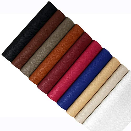 Faux Leather Fabric PVC Vinyl Craft Leather for DIY Hair Bows Headband Earrings A4 Size, 10 Colors (Dark)