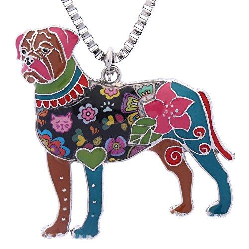 Luckeyui Bullmastiff Jewelry for Women Handmade Cute Enamel Pets Dog Birthday Gift Necklace