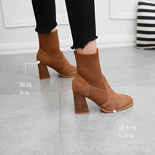 Leather Boots Boots Caramel Winter Pointed Thick Female Solid Martin KHSKX color Socks Boots Sleeve Simple With Knitting 8vAExqw