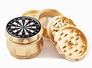 "Dart Board Design Premium Grade Aluminum Tobacco,Herb Grinder -4Pcs Large (2.5"" Gold) # GLD-G50-102215-4"