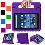2017 Fire 7 inch case- Kids Shock Proof Convertible Handle Light Weight Super Protective Stand Cover for Amazon Fire Tablet (7'' Display -Universal 2015 Fire 7 inch) (Purple, Fire 7(2015,2017))