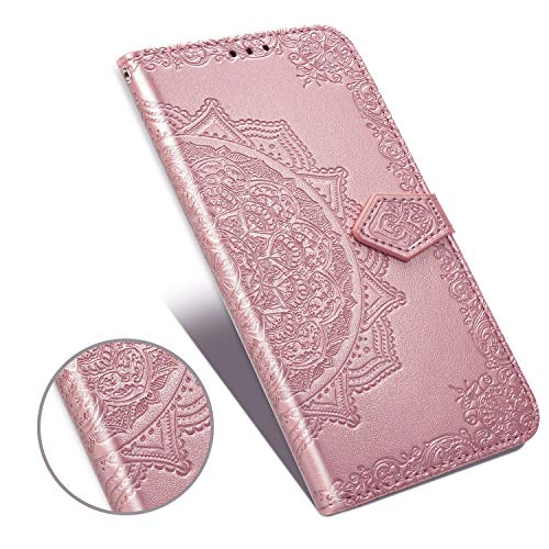 ARSUE Galaxy A50 Case with Screen Protector,Wallet Case for Samsung Galaxy A50 Henna Mandala Floral Flower PU Leather Flip Folio Phone Cover w/Stand Card Slot Side Pocket Magnetic Closure,Rose Gold