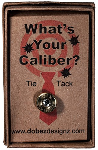 9mm Luger Brass Tie Tack with Swarovski Crystal- Clear (Winchester)
