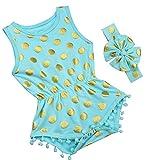 iiniim Newborn Baby Girls Summer Romper Headband Set Polka Dots Bodysuit