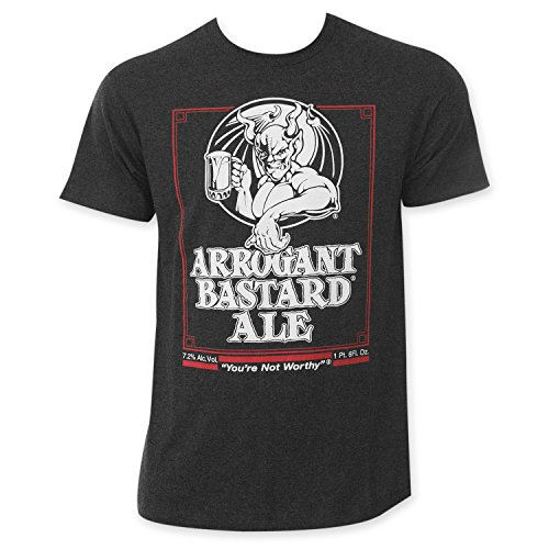 Arrogant Bastard Men's Charcoal Beer Logo T-Shirt Small Gray (Beer Bastard Arrogant)