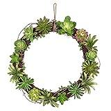 Mkono Artificial Living Succulent Wreath Sweet Garden 15 Inch