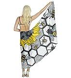 US TANG Swimwear beach scarf cover up for women - Sunflower Bee Beehive Beach Sarong Wrap - Bikini Swimsuit Wrap Chiffon Scarf skirt