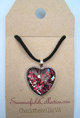 (Silver-Tone Black and Pink Glitter Glass Heart Pendant Necklace Faux Suede Cord)