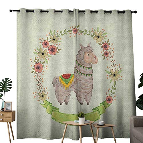NUOMANAN Pattern Curtains Llama,Colorful Watercolor Floral Wreath and South American Animal Illustration with Banner, Multicolor,Living Room and Bedroom Multicolor Printed Curtain Sets 52