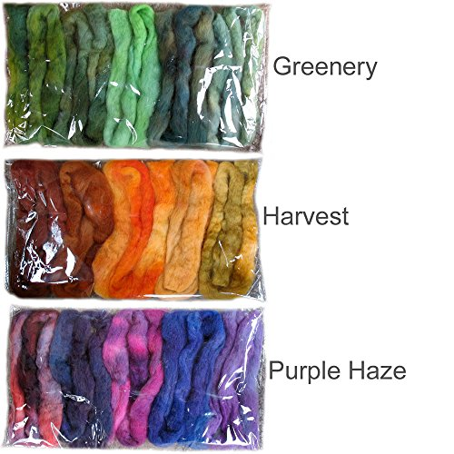 Needle Felting Roving Fiber for Felting Spinning Weaving Dryer Balls Soap Making and Embellishments Blues Color Sampler Pack of BFL Wool Hand Dyed in USA by Living Dreams