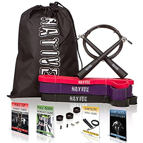 10 PC Pull Up Assist Resistance Bands Set - Bonus Speed Jump Rope - Pro Fitness Training Workout - Home Gym Exercise Assistance Equipment for CrossFit, Heavy Duty Assisted Chin Ups, Mobility, (Beginner Rebounder Dvd)