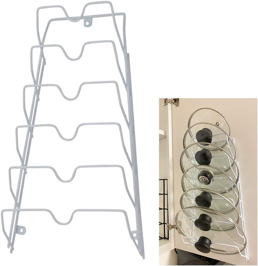 Evelots Pot//Pan//Lid Rack-Adjustable Widths-5 Divider-Powder Coated Carbon Steel