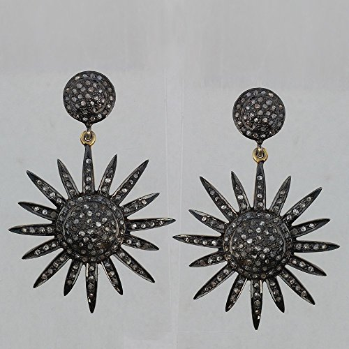 14k Yellow Gold 1.60 Ct Diamond Pave Starburst Design Dangle Earrings Vintage Style Jewelry 925 Sterling Silver 14k Yellow Gold Starburst