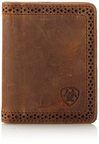 Ariat Ariat Shield Perforated Edge Bi-Fold Wallet Wallet Medium Distressed Brown One Size