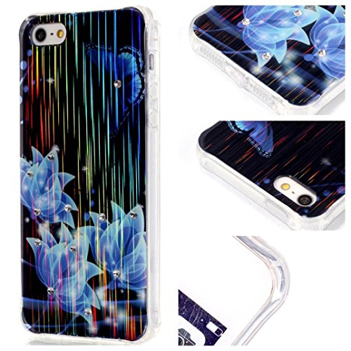 For iPhone SE 5 5S Case,GBSELL Colorful Vintage Skin TPU Soft Case Cover Shell Skin (B)