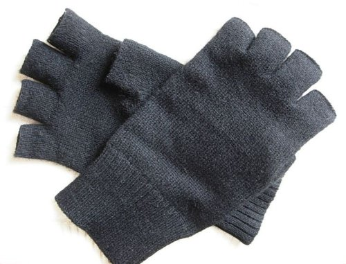 Black Pure 100% Cashmere Fingerless Half Finger Gloves